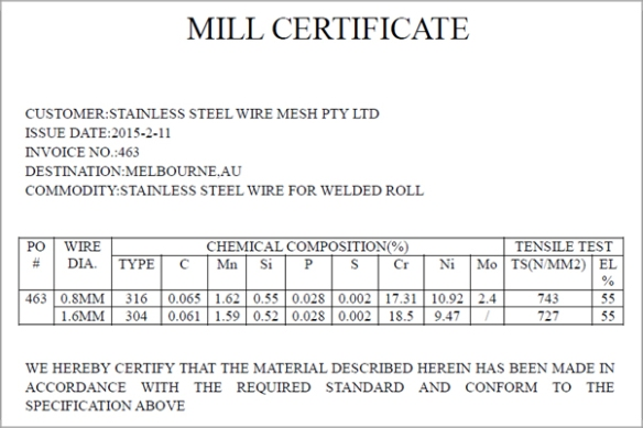 stainless steel wire & mesh mill certificate