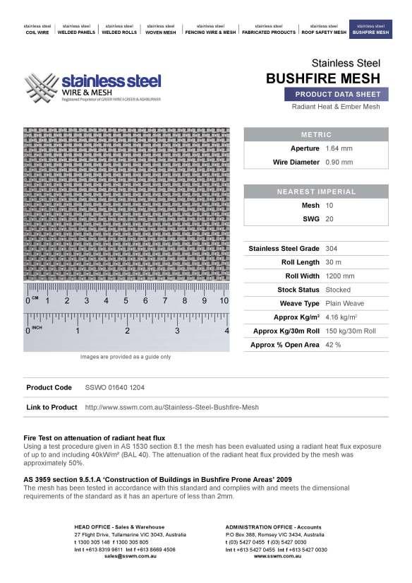 Bushfire mesh data sheet